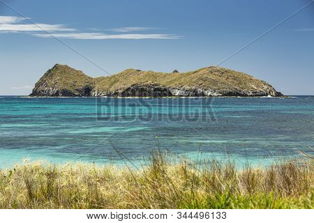 View From Neds Beach Of The Turquoise Waters Of Sugarloaf Island, Lord Howe Island, Australia