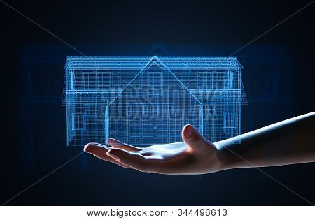 3d Rendering Human Hand Hold House Blueprint Or Wireframe
