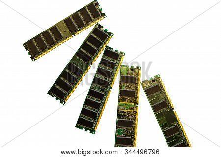 Computer Memory Module Ddr Sdram In Isolated Black Background. Desktop Workstation Server Ram Memory