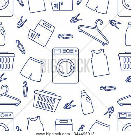 Vector Seamless Pattern Washing Machine, Laundry Basket, Laundry Detergents, Hanger, Clothespins, Cl
