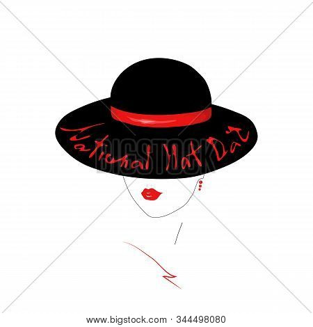 Young Women Face Contour With Red Gloss Lips. Girl In An Elegant Black Hat  With Handwritten Text Na