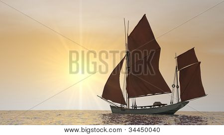 ship with red sales in the ocean in sunset