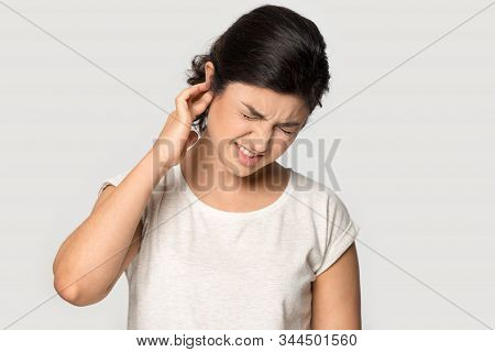 Unhealthy Indian Millennial Lady Suffering From Strong Earache.