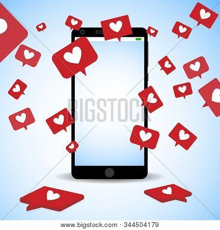 Social Media Addiction, Depend On Likes, Nomophobia. Vector Communication In Internet, Social Media