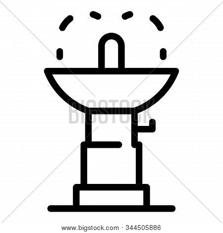 Water Drink Faucet Icon. Outline Water Drink Faucet Vector Icon For Web Design Isolated On White Bac