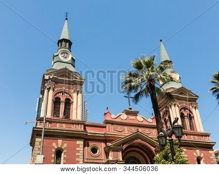 The Basilica De La Merced, With Its Two Pointed Domes And Intense Red Color. Built In 1566, It Was R