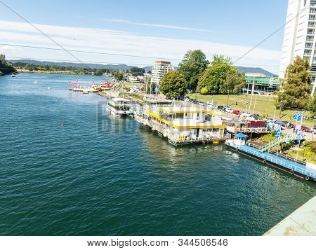 Valdivia, Chile - January 13, 2018: Waterfront Of Valdivia In Southern Chile. Waterfront Of Valdivia