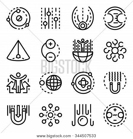Gravity Icons Set. Outline Set Of Gravity Vector Icons For Web Design Isolated On White Background