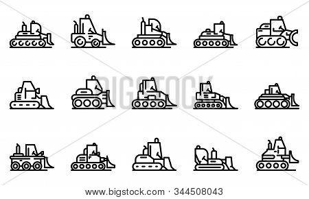 Bulldozer Icons Set. Outline Set Of Bulldozer Vector Icons For Web Design Isolated On White Backgrou