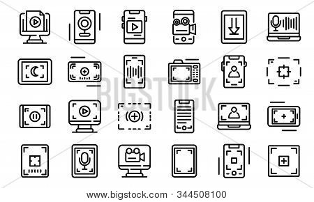Screen Recording Icons Set. Outline Set Of Screen Recording Vector Icons For Web Design Isolated On