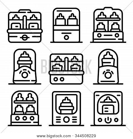 Bottle Sterilizer Icons Set. Outline Set Of Bottle Sterilizer Vector Icons For Web Design Isolated O