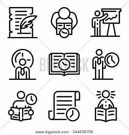 Historian Icons Set. Outline Set Of Historian Vector Icons For Web Design Isolated On White Backgrou