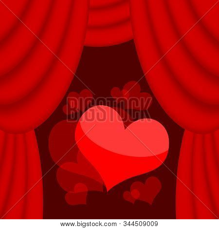 Love Hearts On The Stage Background With Red Curtains