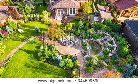Moscow Region - Aug 24, 2019: Landscape Design With Patio At Residential House Taken From Above. Bea