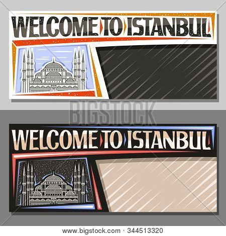 Vector Layouts For Istanbul With Copy Space, Decorative Coupon With Contour Illustration Of Famous S