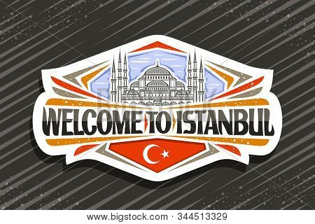 Vector Logo For Istanbul, Decorative Cut Paper Sign With Draw Illustration Of Famous Sultanahmet Cam