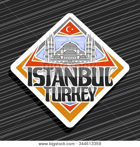 Vector Logo For Istanbul, White Rhombus Tag With Line Illustration Of Famous Sultanahmet Camii On Sk