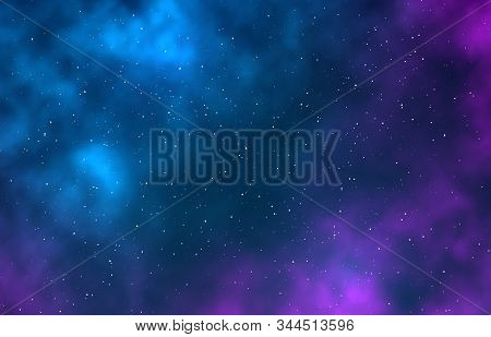 Galaxy. Night Starry Sky, Infinite Space Universe With Stars, Galaxies. Nebulae And Bright Stains St