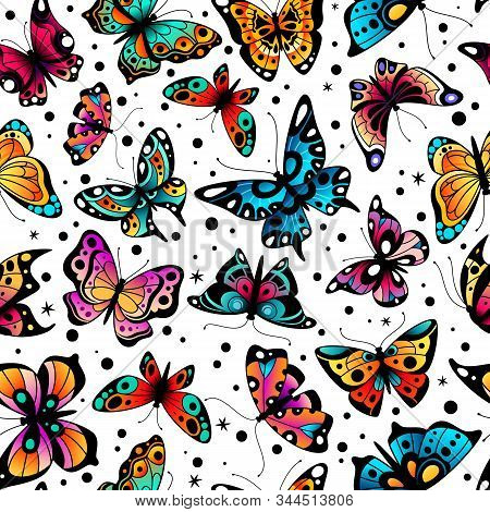 Butterfly Seamless Pattern. Cute Colorful Flying Butterflies, Beautiful Insects Retro Spring Design.