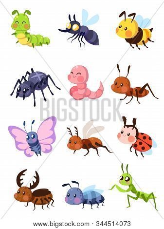 Cartoon Insects. Cute Grasshopper And Ladybug, Caterpillar And Butterfly. Mosquito And Spider. Fly,