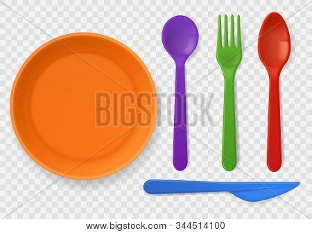 Disposable Plastic Tableware. Realistic Colorful Kids Cutlery. Spoon, Fork And Knife, Picnic Kitchen