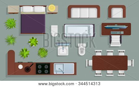 Interior Top View. Office Furniture Design Elements, Bedroom And Kitchen, Bathroom Plan, Store And A