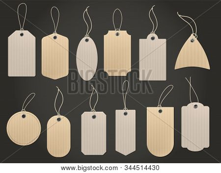 Craft Hanging Labels. Price Brown Paper Tag For Natural Eco Food Grocery And Shop Vintage Isolated C