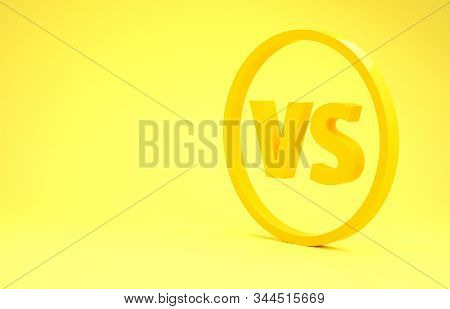 Yellow Vs Versus Battle Icon Isolated On Yellow Background. Competition Vs Match Game, Martial Battl