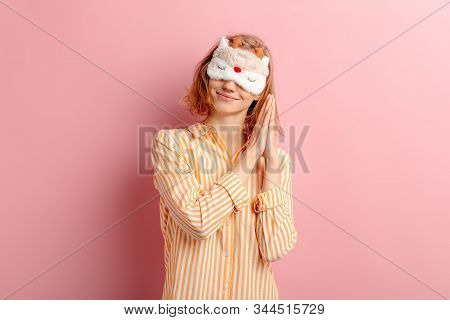 Portrait Of Smiling Girl With Short Hair, Wearing Pajamas And Blindfold, Want To Sleep, She Doesnt G