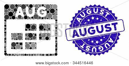 Mosaic August Calendar Grid Icon And Corroded Stamp Seal With August Phrase. Mosaic Vector Is Create