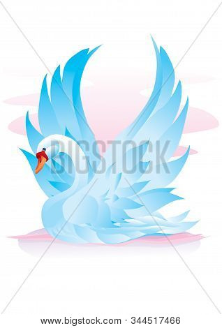 Blue Swan Spread Its Wings And Is About To Take Off, Hope, Love, Beauty, Vector Illustration