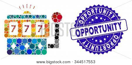 Mosaic Casino Machine Icon And Grunge Stamp Seal With Opportunity Text. Mosaic Vector Is Formed With