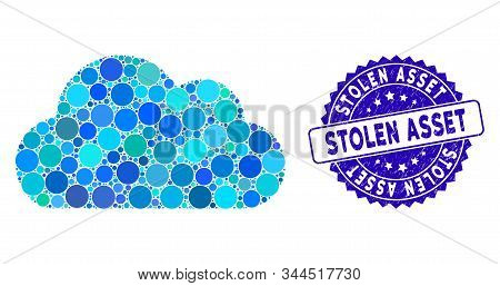 Mosaic Cloud Icon And Corroded Stamp Seal With Stolen Asset Caption. Mosaic Vector Is Designed With