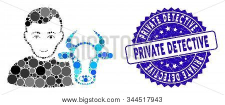 Collage Cow Farmer Icon And Grunge Stamp Seal With Private Detective Caption. Mosaic Vector Is Desig