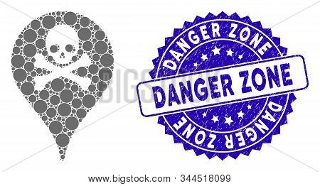 Mosaic Danger Zone Map Marker Icon And Grunge Stamp Seal With Danger Zone Caption. Mosaic Vector Is