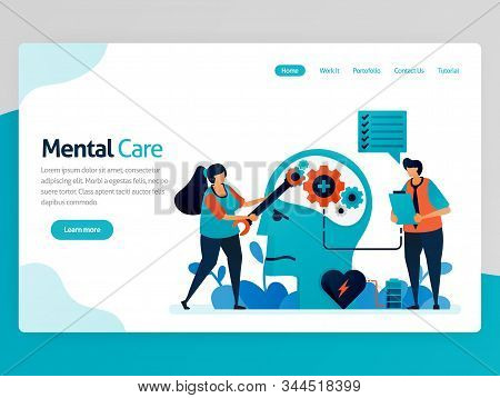 Illustration Of Mental Care. Repair Mind And Psychology. Awareness For Mental Illness. Care For Ment