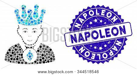 Mosaic Ethereum Lord Icon And Distressed Stamp Seal With Napoleon Caption. Mosaic Vector Is Composed