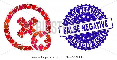 Mosaic False Negative Icon And Grunge Stamp Seal With False Negative Text. Mosaic Vector Is Designed