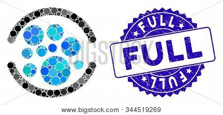 Mosaic Full Icon And Rubber Stamp Seal With Full Phrase. Mosaic Vector Is Formed With Full Icon And