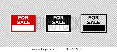 For Sale Sign Isolated Vector Sign On Transparent Background. For Sale Sign. New House. Sold Sign. E