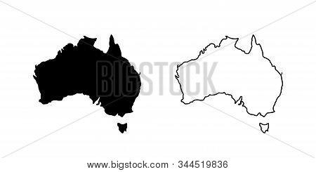 Australia Vector Icon Isolated. Flat Outline Vector Illustration. Australia Icon Set. Line Icon. Bla