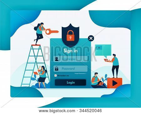 Website Login Template For Protecting User Account Security, Secure And Protection For Privacy And F