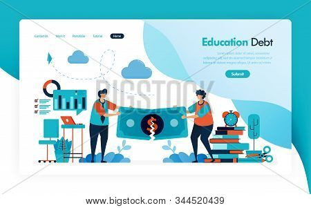 Landing Page For Tuition Fees, Education Debt, Scholarship Loan, Torn Of Money, Budget For Learning