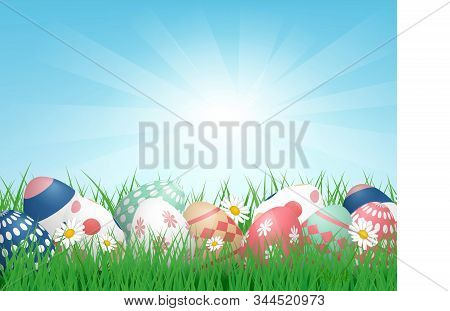 3d Happy Easter Background With Colorful Easter Eggs On Grass Field With Sunlight. Vector Illustrati
