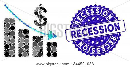 Collage Recession Icon And Grunge Stamp Seal With Recession Text. Mosaic Vector Is Composed With Rec