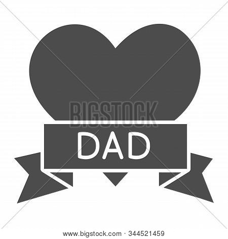Tatoo With Dad Inscription Solid Icon. Heart Tatoo Baloons Vector Illustration Isolated On White. Lo