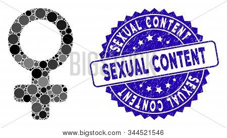 Mosaic Venus Symbol Icon And Distressed Stamp Seal With Sexual Content Text. Mosaic Vector Is Compos