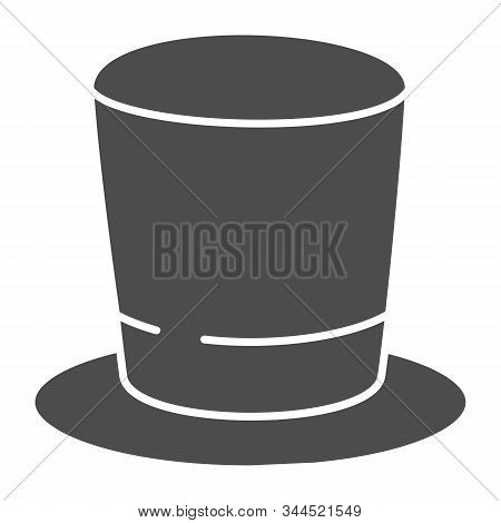 Cylinder Hat Solid Icon. Top Hat Vector Illustration Isolated On White. Gentleman Hat Glyph Style De