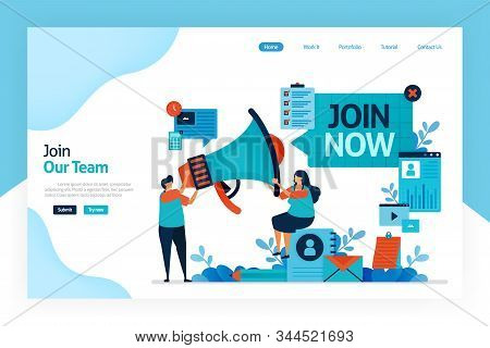 Landing Page Of Join Now. Hiring And Open Recruitment Of Employee. Referral Memberships Business. Me