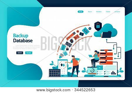 Backup Database Landing Page Design. Secure Personal Data With Internet Backup Services To Cloud And